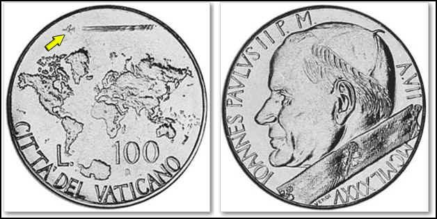 Vatican 100 Lire Coin 1985 Pope John Paul